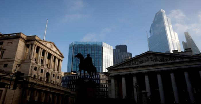 FILE PHOTO: A view of The Bank of England and the City of London financial district in London,