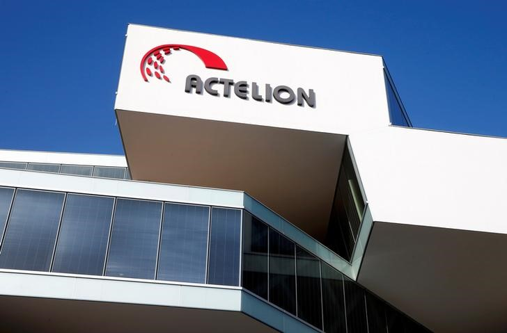 FILE PHOTO:  The company's logo is seen at the headquarters of Swiss biotech company Actelion