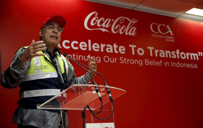 FILE PHOTO:  Coca-Cola CEO Muhtar Kent speaks following the inauguration of new production