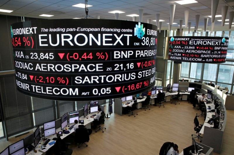 FILE PHOTO: Company stock price information is displayed on screens as they hang above the