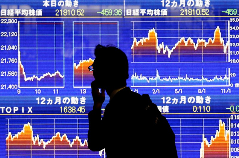 FILE PHOTO : A man looks at an electronic stock quotation board showing Japan's Nikkei average