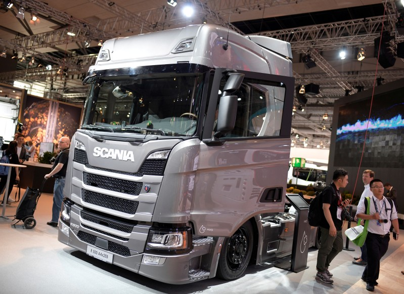 FILE PHOTO: Truck of Swedish company Scania is pictured in Hanover, Germany
