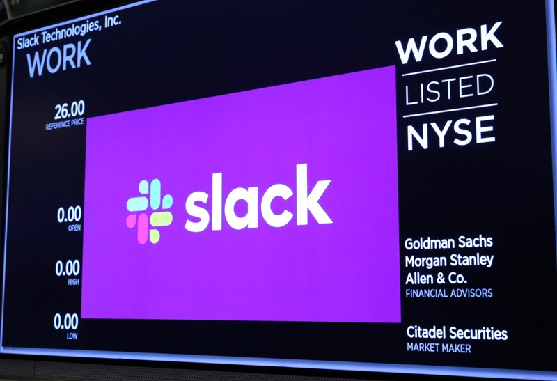 The Slack Technologies Inc. logo is seen on a display at New York Stock Exchange (NYSE) during