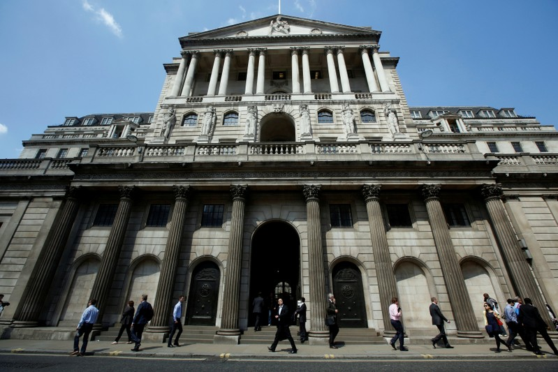 FILE PHOTO: Pedestrians walk past the Bank of England in the City of London