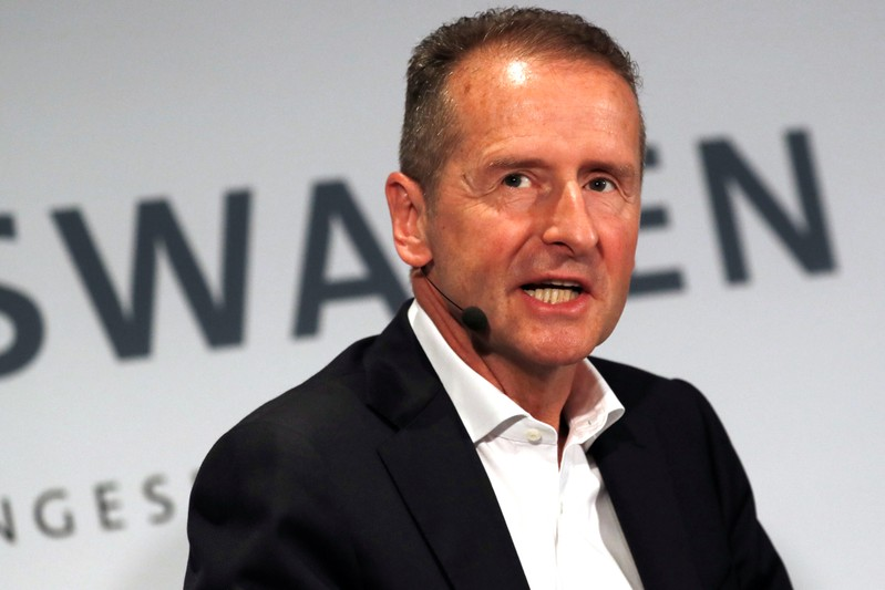 Volkswagen AG CEO Dr. Herbert Diess speaks at a news conference in New York