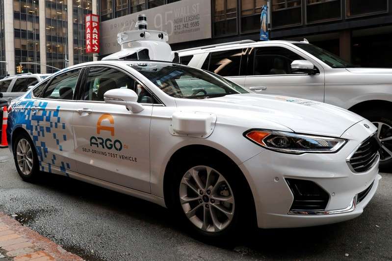 Argo Ai self driving prototype vehicle is seen outside a Ford and Volkswagen joint news