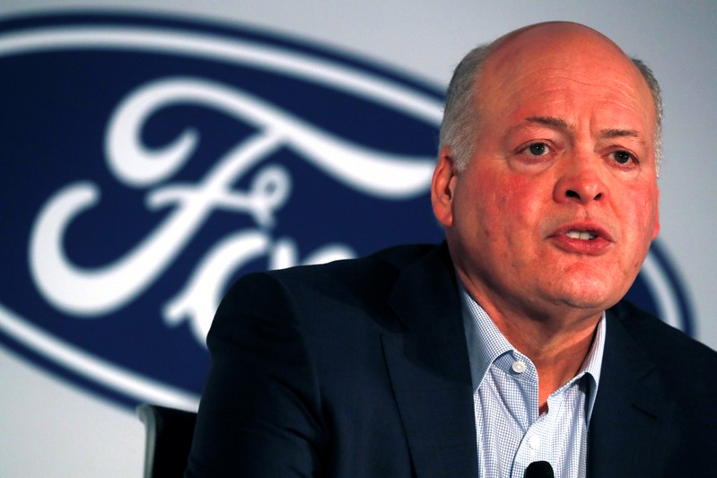 Ford President and CEO Jim Hackett speaks at a news conference in New York