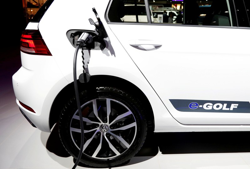 FILE PHOTO: A Volkswagen e-Golf electric car is pictured in Brussels, Belgium