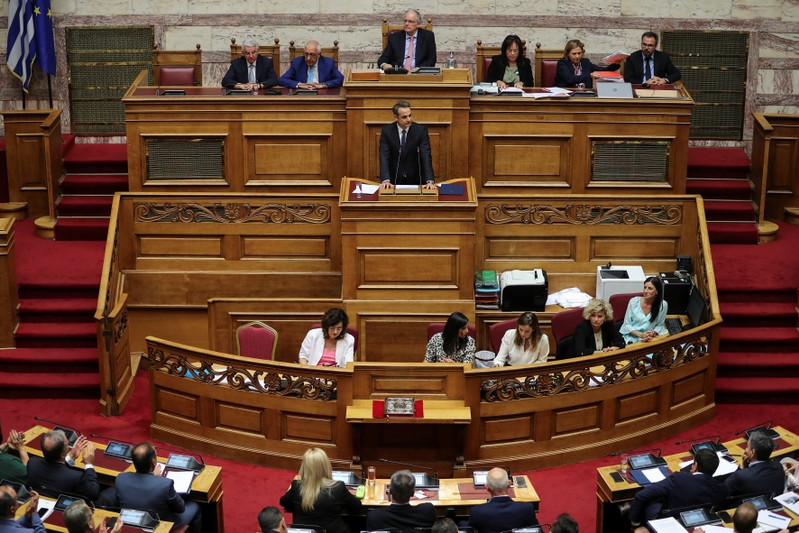 Greek PM Mitsotakis presents his government's main policies during a parliamentary session in