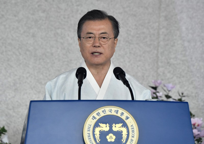 South Korean President Moon Jae-in delivers a speech during a ceremony to mark the 74th