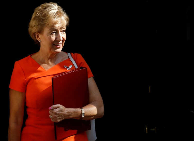 Newly appointed Business Secretary Andrea Leadsom is seen outside Downing Street in London