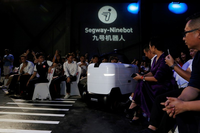 Delivery robot Segway DeliveryBot X1 is unveiled at a Segway-Ninebot product launch event in