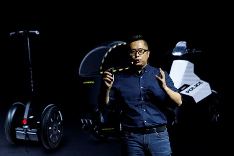 Ninebot CEO Gao Lufeng speaks at a Segway-Ninebot product launch event in Beijing