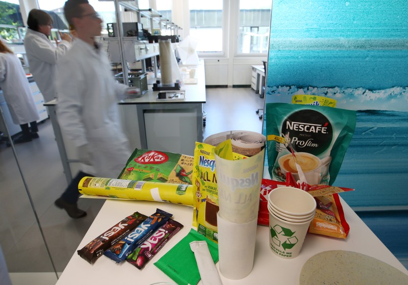 Packagings are pictured during a media visit for the inauguration of the Nestle Institute of