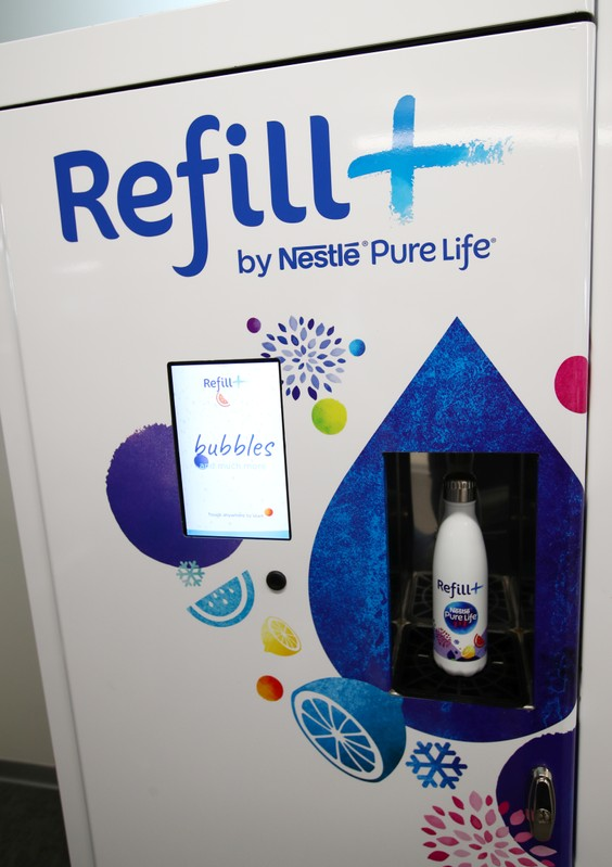 A prototype of a refill machine for Nestle Pure Life water is pictured during a media visit for