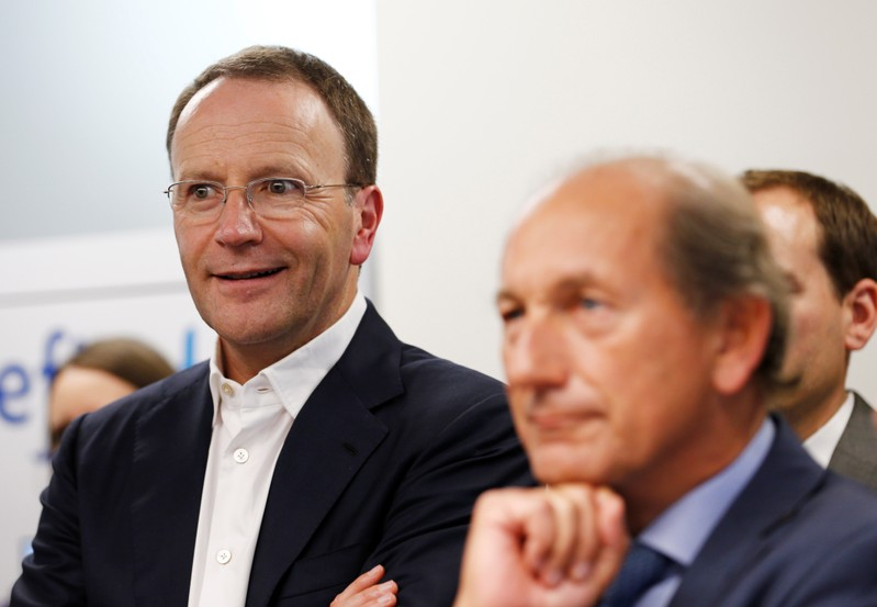 Swiss food giant Nestle CEO Schneider and Chairman Bulcke attend the inauguration ceremony of