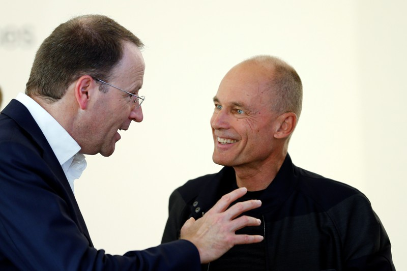 Swiss food giant Nestle CEO Schneider speaks with Solar Impulse Foundation Chairman Piccard
