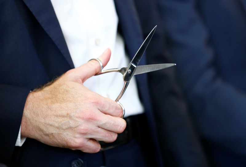 Swiss food giant Nestle CEO Schneider holds scissors during the inauguration ceremony of the