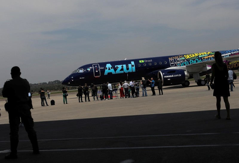 E2-195 plane with Brazil's No. 3 airline Azul SA logo is seen during a launch event in Sao Jose