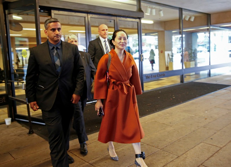 FILE PHOTO: Huawei Technologies Chief Financial Officer Meng Wanzhou leaves for a lunch break