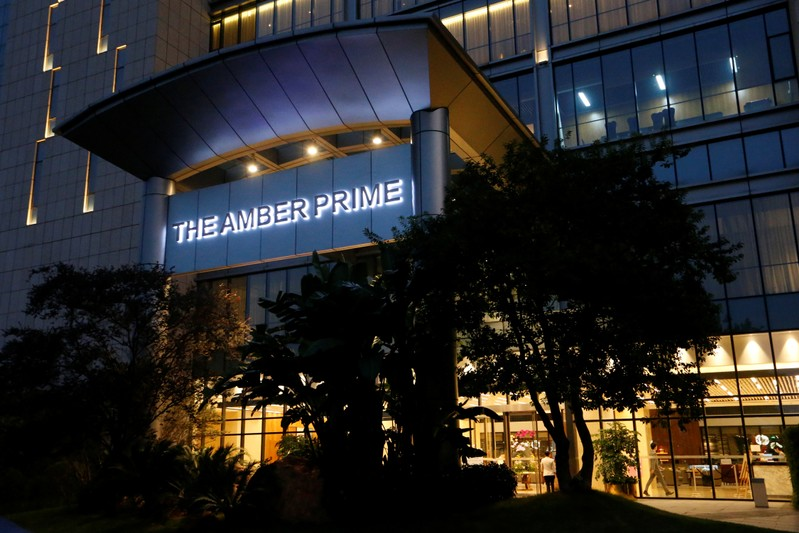 Exterior of Amber Prime hotel owned by Huawei subsidiary is pictured in Shenzhen