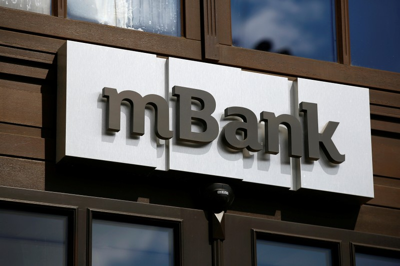 A logo of mBank, Poland's fourth-largest lender by assets, is pictured on the bank headquarters