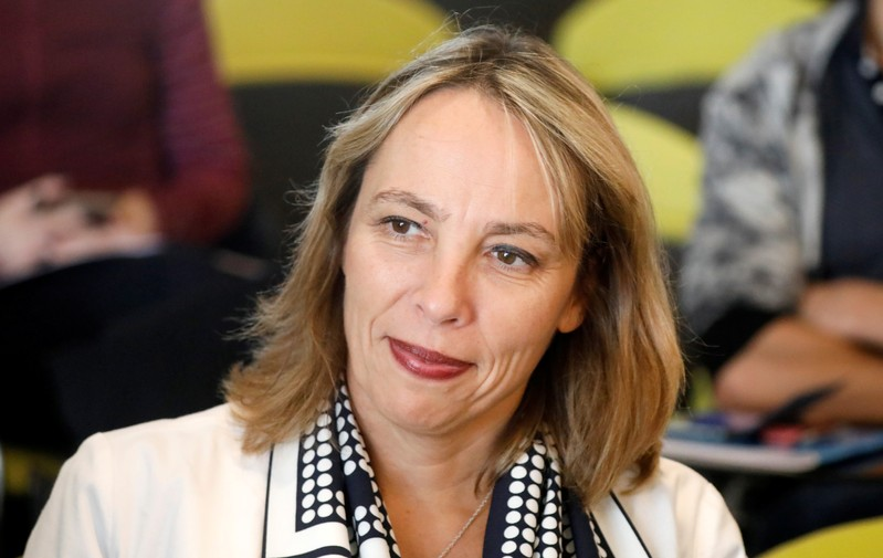 Newly-appointed interim CEO Clotilde Delbos attends a news conference at French carmaker