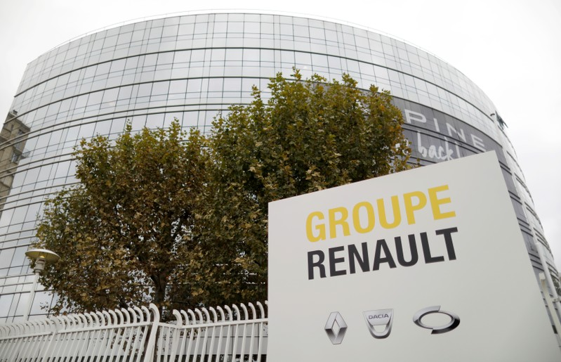 French carmaker Renault headquarters is seen ahead of the company's news conference in