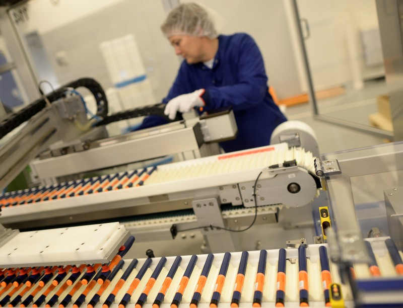 FILE PHOTO: A Novo Nordisk employee controls a machine at an insulin production line in a plant