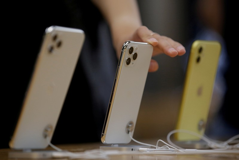 FILE PHOTO: Apple's new iPhone 11 Pro Max, 11 Pro and 11 are displayed after they went on sale