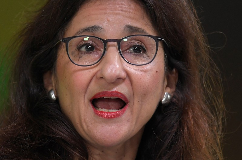 FILE PHOTO: Bank of England Deputy Governor Minouche Shafik delivers a speech at a financial