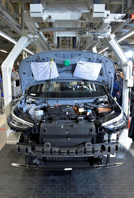 Partially assembled car is pictured at a production line of a a new electric Volkswagen model