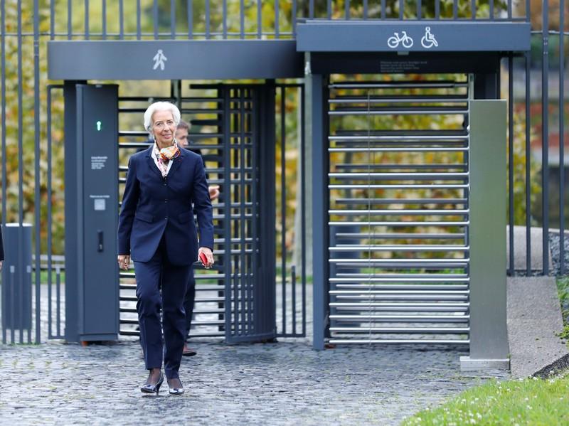 European Central Bank's President Lagarde arrives at the ECBs headquarter in Frankfurt