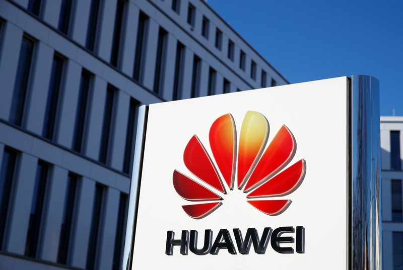 The logo of Huawei Technologies is pictured in front of the German headquarters of the Chinese