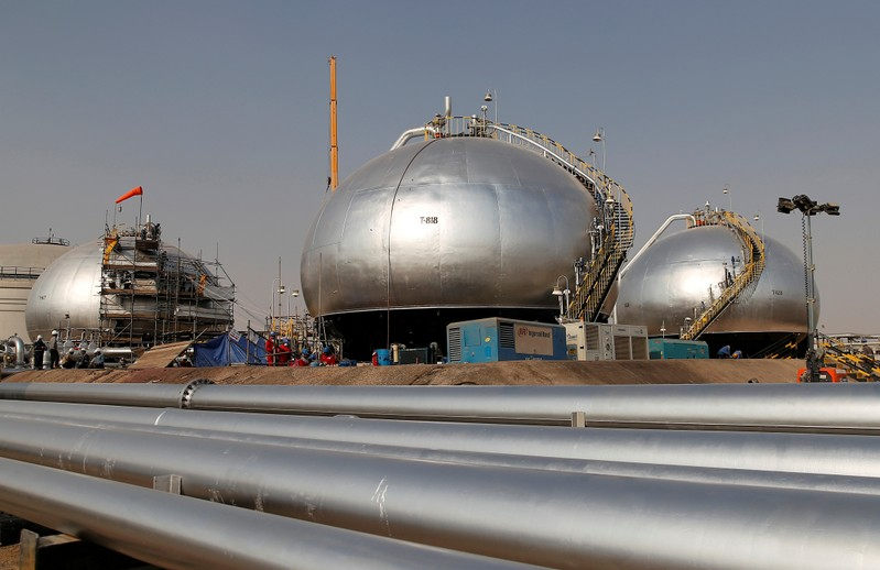 FILE PHOTO: Spheroids under reconstruction are pictured at Saudi Aramco oil facility in Abqaiq