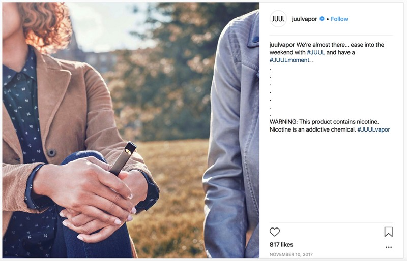 A screenshot shows a 2017 Instagram post advertising for Juul products