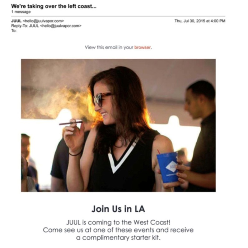 A screenshot shows 2015 email advertising for Juul products