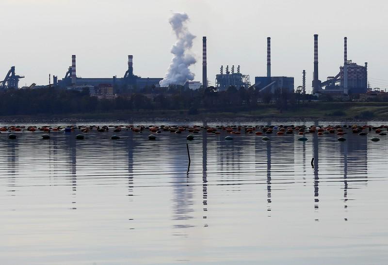The ILVA steel plant is seen in Taranto