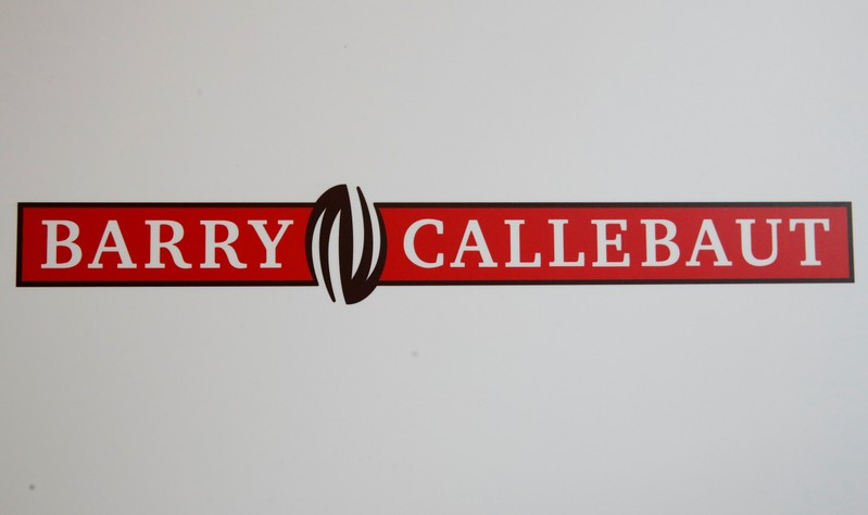FILE PHOTO: Logo of chocolate and cocoa product maker Barry Callebaut is pictured during the