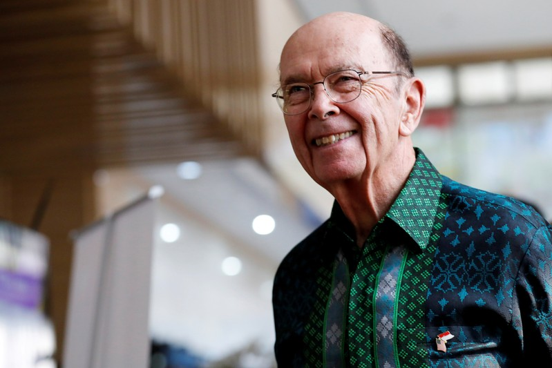 U.S. Commerce Secretary Wilbur Ross reacts as he arrives before his meeting with Indonesia's