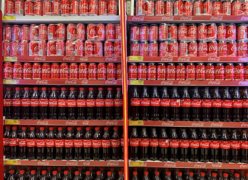 Coca-Cola products are displayed for sale at a Shoprite store inside Palms shopping mall in