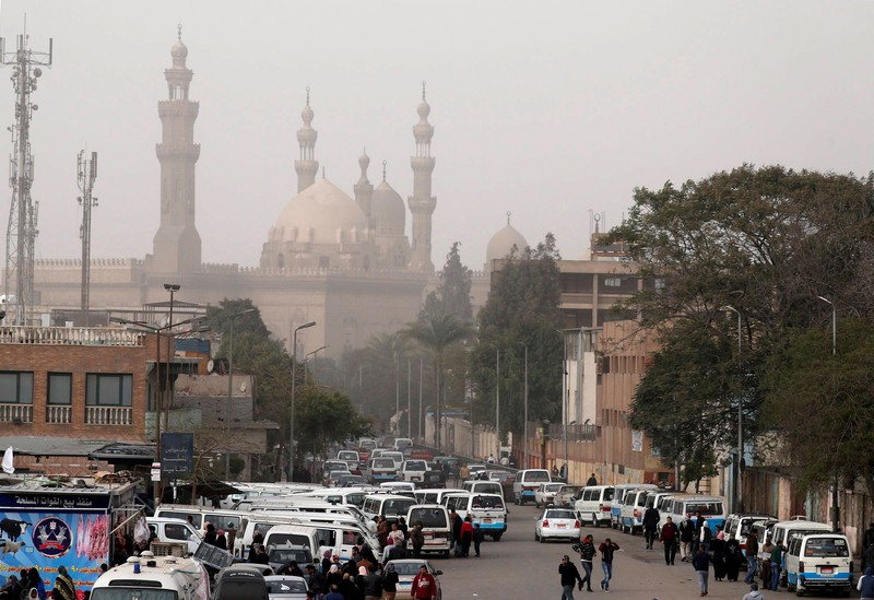 FILE PHOTO: The minarets of Sultan Hassan Mosque and the Al-Rifa'i Mosque are seen as a traffic