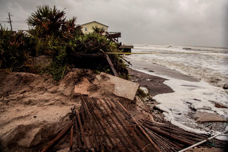 FILE PHOTO: Beach erosion and debris are seen due to Hurricane Dorian as the A1A coastal route