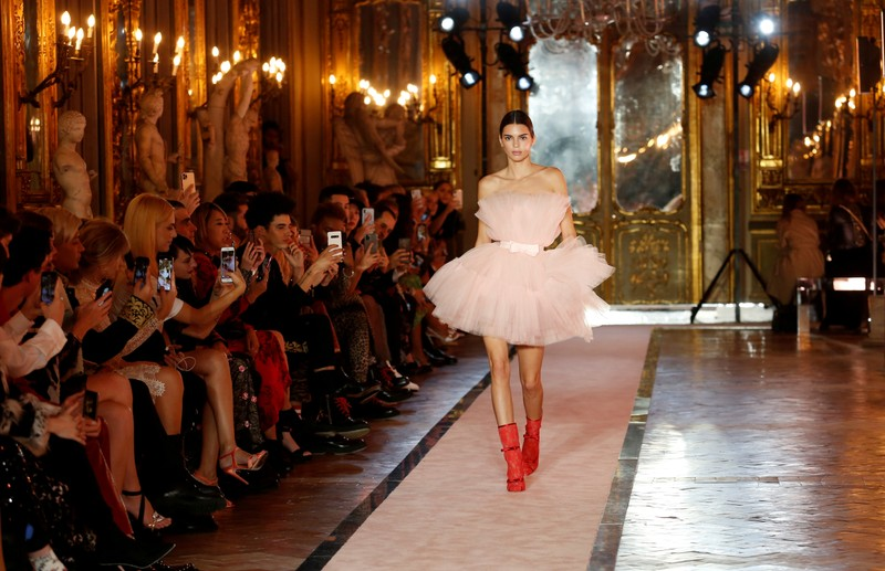 FILE PHOTO: U.S. model Kendall Jenner walks on catwalk wearing a pink tulle dress during