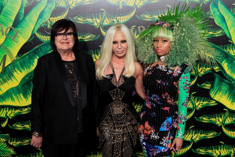 FILE PHOTO: Donatella Versace, Van den Bosch and Nicki MInaj arrive at a party to celebrate the