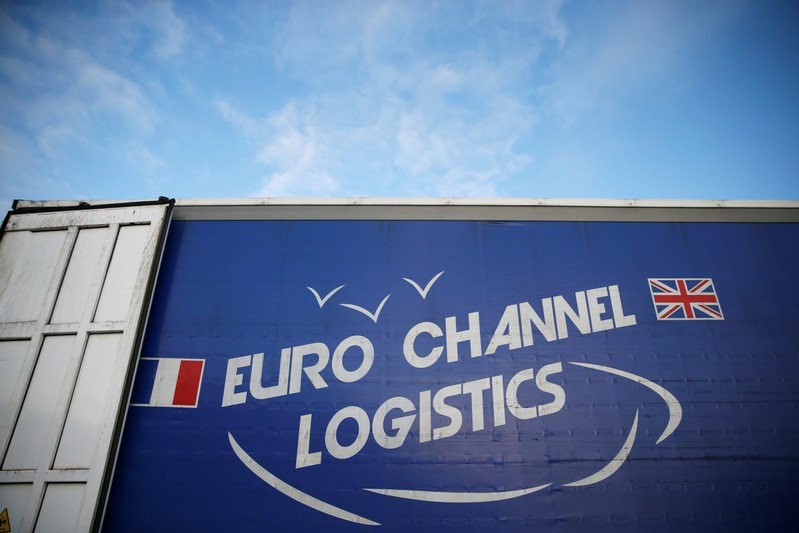 The logo of Euro Channel Logistics is seen on a trailer in Dieppe