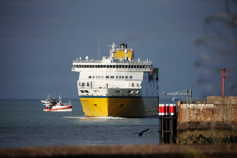 The Transferries ferry Cote d'Albatre arrives in the harbour of Dieppe