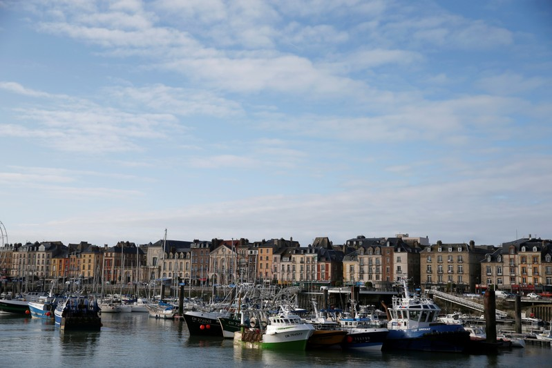 General view of the harbour and town of Dieppe