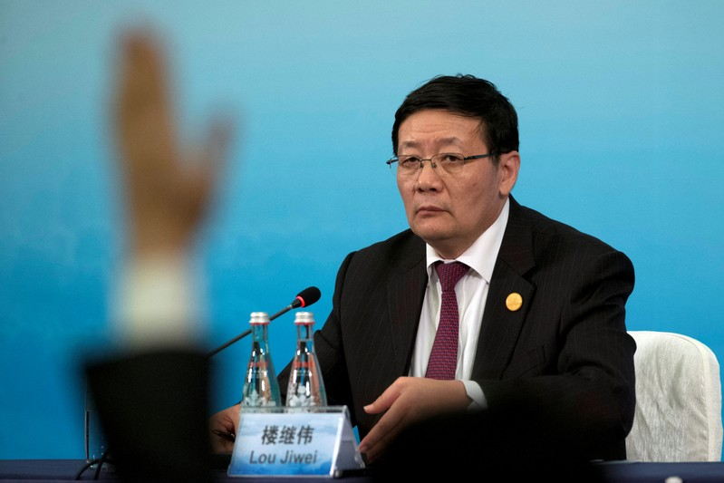 China's Minister of Finance Lou Jiwei attends a press conference held at the close of the G20