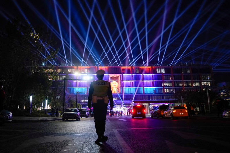 A view of Alibaba Group's headquarters at 11.11 Singles' Day global shopping festival in